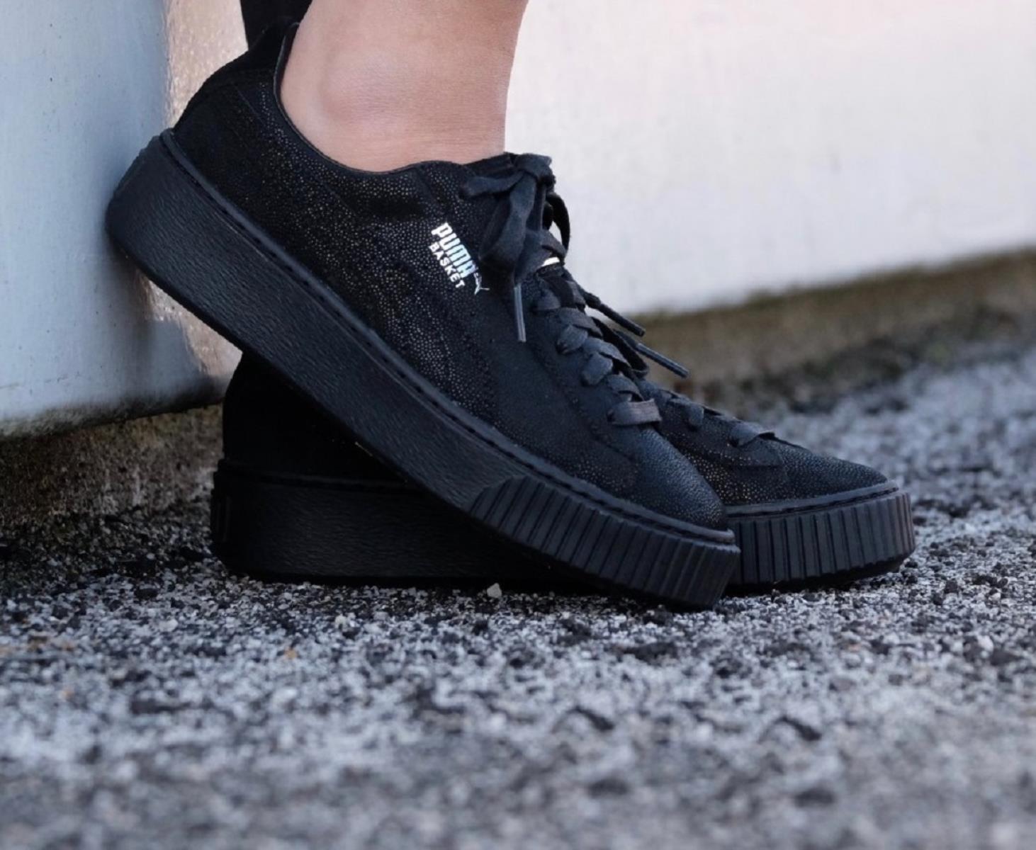 puma basket platform nero