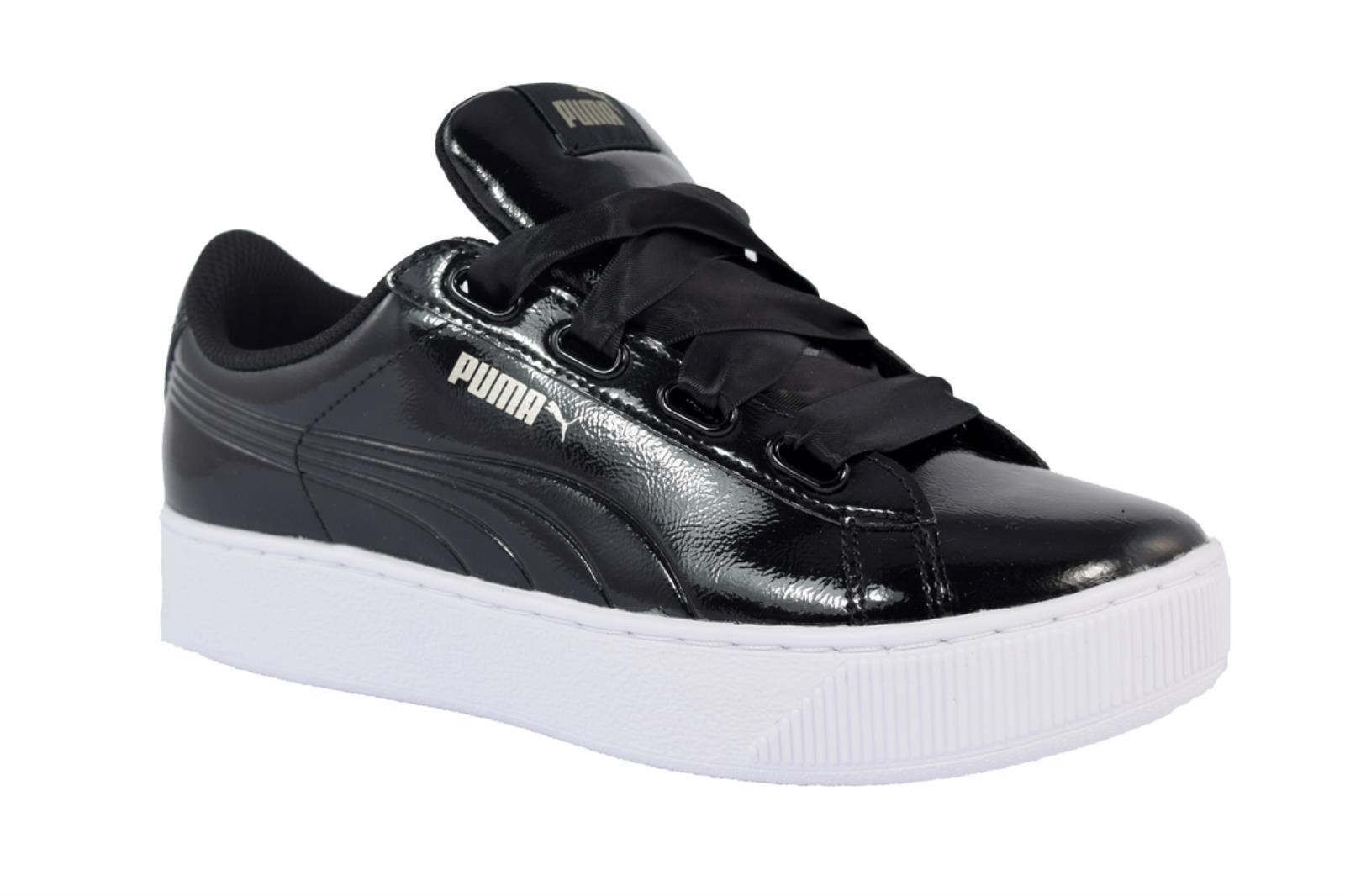 SNEAKERS PUMA VIKKY PLATFORM RIBBON 366419 01 DA DONNA IN VERNICE DI COLORE NERO