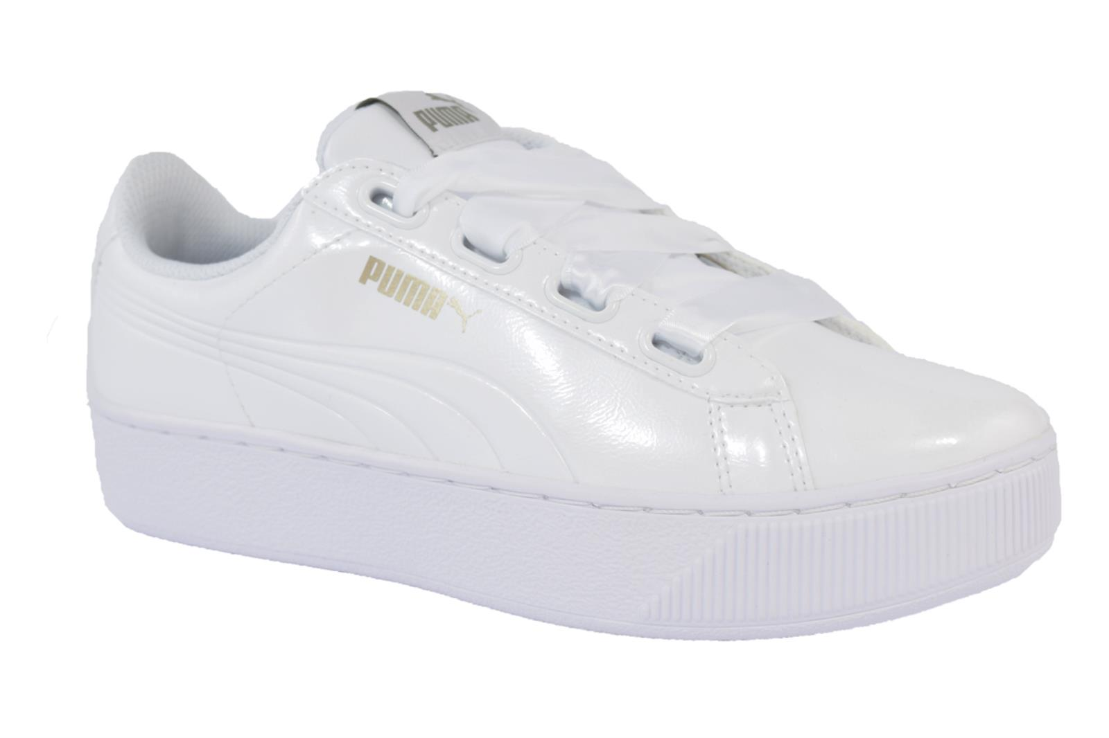 SNEAKERS PUMA VIKKY PLATFORM RIBBON 366419 02 DA DONNA IN VERNICE DI COLORE BIAN