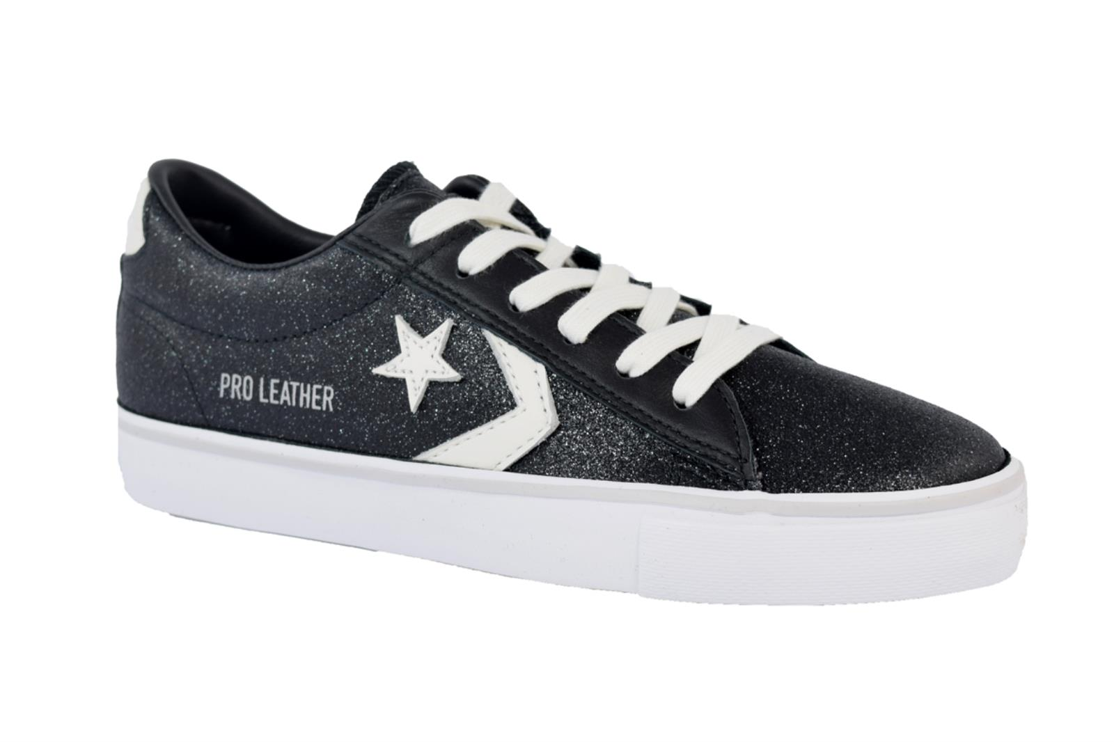 SNEAKERS CONVERSE PRO LEATHER VULC 561010C DA DONNA IN GLITTER DI COLORE NERO