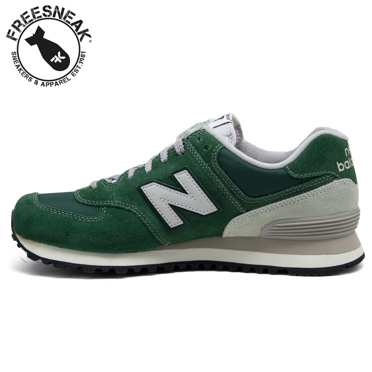 new balance 574 green suede purse
