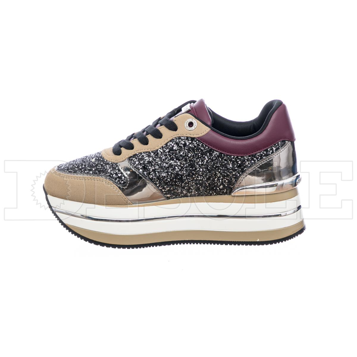 Sneakers donna platform|GUESS FL7HN4FAM12 glitter bordeaux