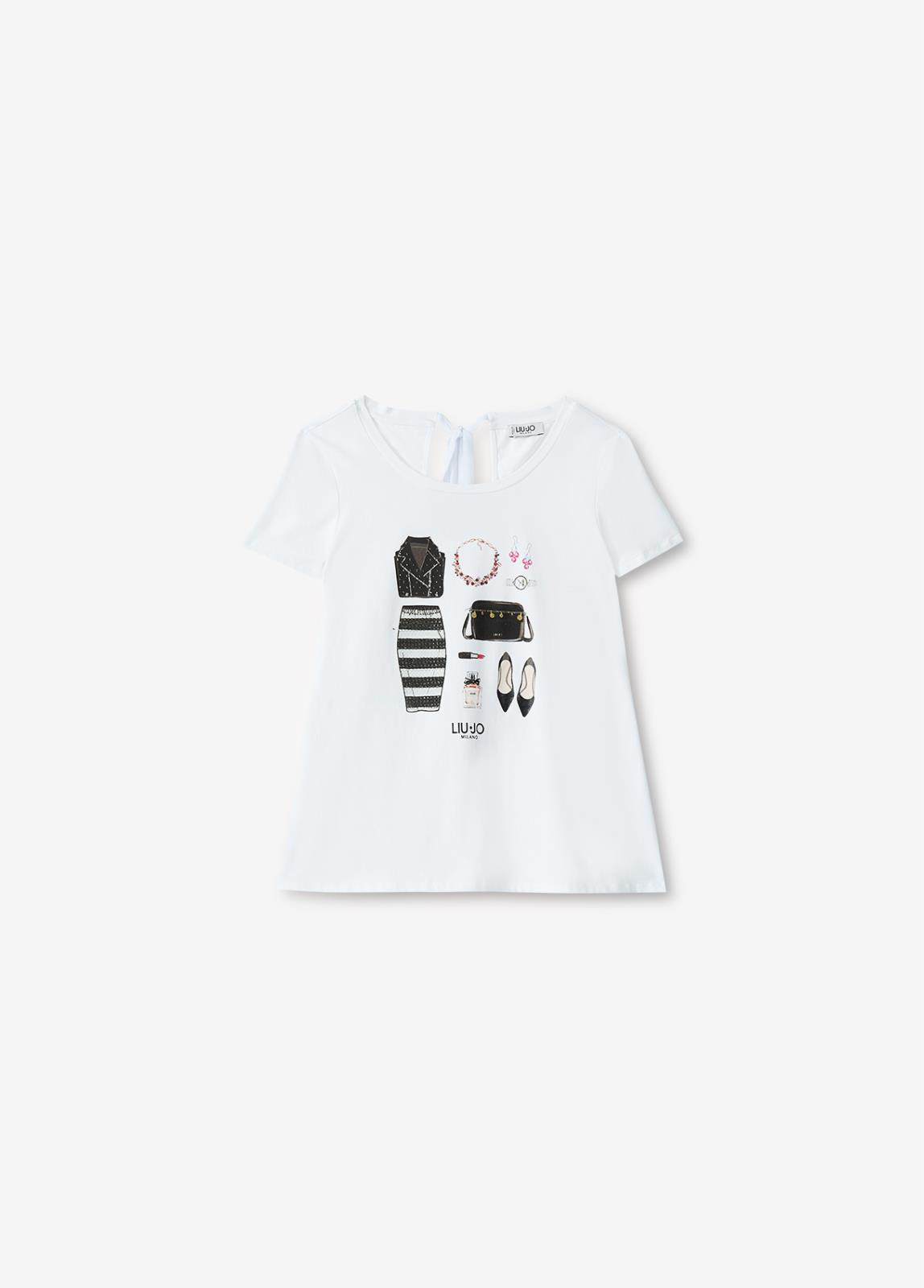T shirt Stampa e Fiocco Liu Jo
