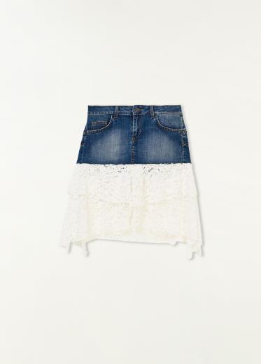 sito web per lo sconto prezzo basso all'ingrosso Gonna in jeans e pizzo Liu Jo
