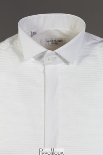 buy popular 941f1 30e88 Camicia uomo cerimonia collo diplomatico e pieghe Manuel Ritz