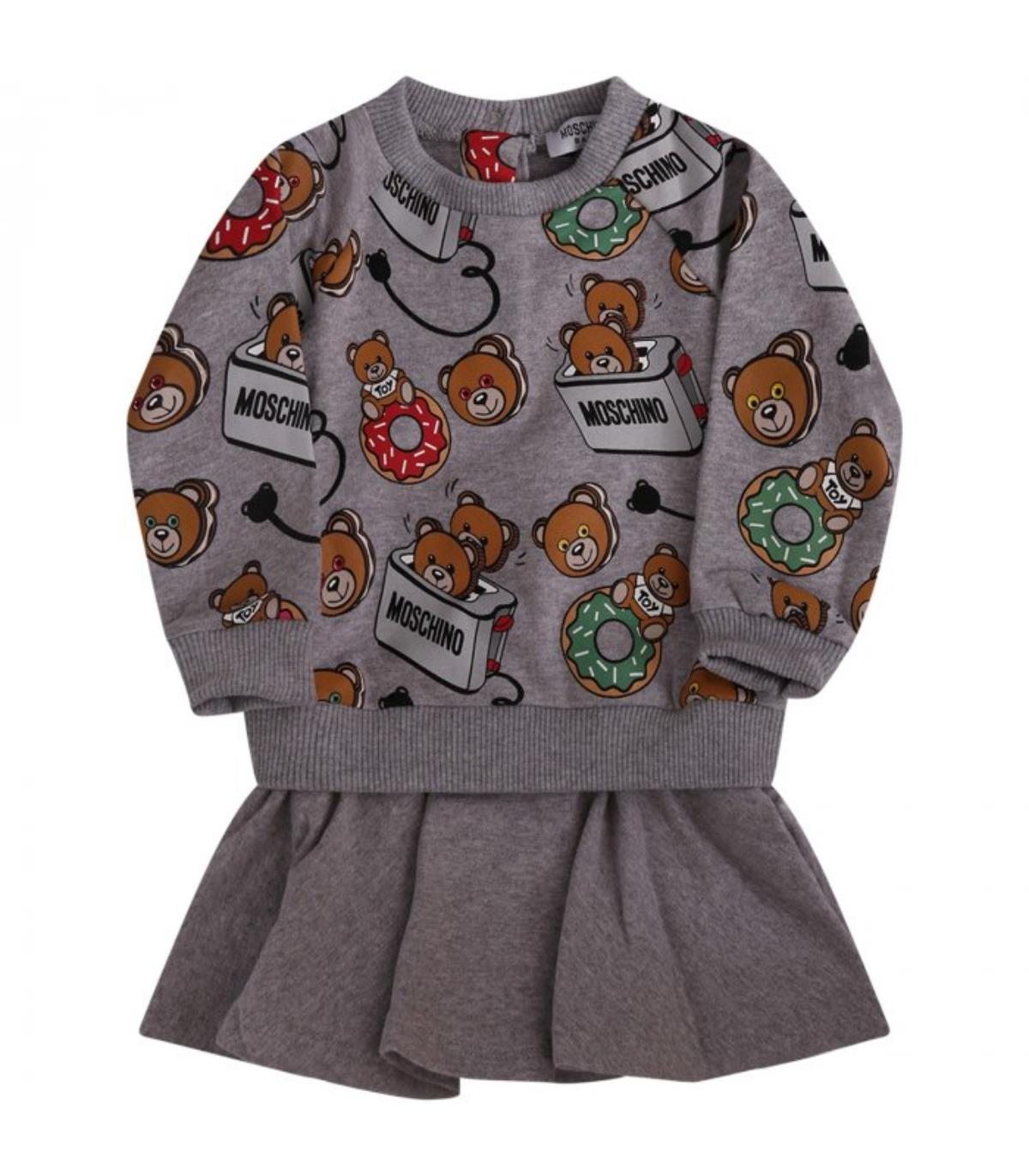 Moschino Kids Abito Grigio Felpa Teddy Bear MBV04R-LDB04. MOSCHINO  MBV04R-LDB04 677936d2bc6