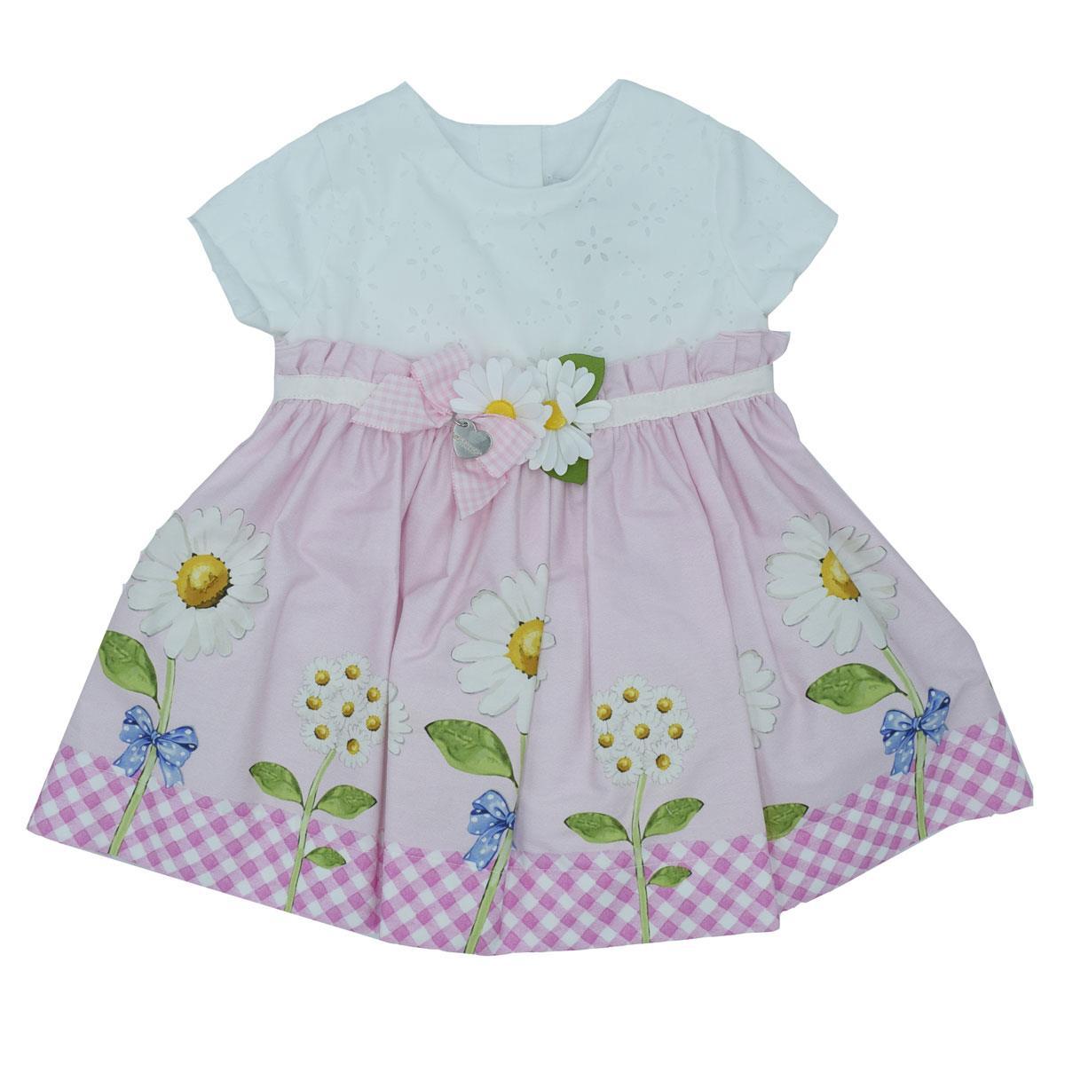 finest selection 674dd e1c4e Monnalisa Neonata Vestito Rosa Stampa Margherite.