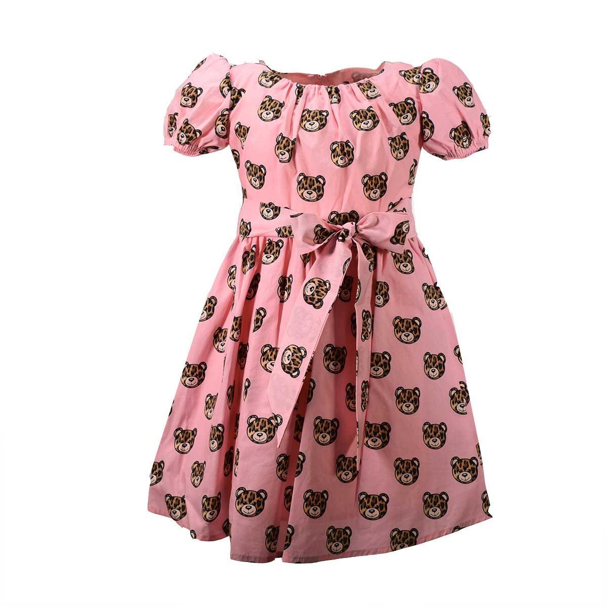 economico per lo sconto 7723e 88e4c Moschino Bambina Abito Rosa Stampa teddy Maculato
