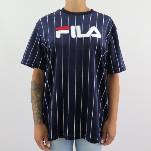 T Shirt Velour Donna Pin Sheep Stripe Tux Black Blue Fila AHnqwdH