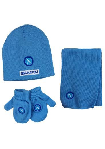 SSC Napoli Set Cappellino Sciarpa Guanti Pile Neonato N9026