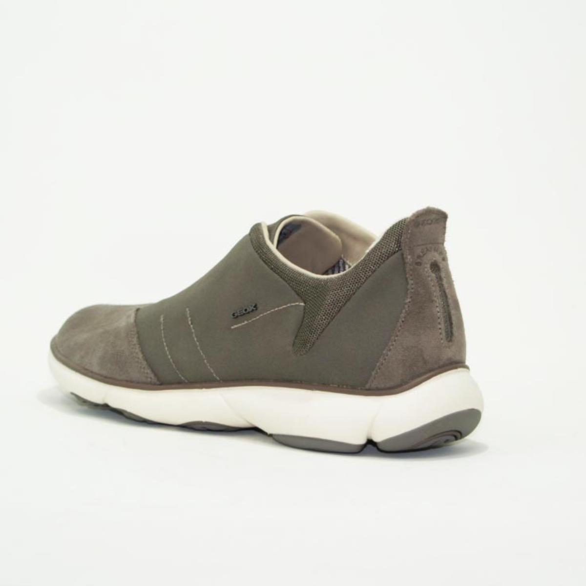 geox sneakers bassa nebula sportiva uomo lacci elastici camoscio grigio U52D7B