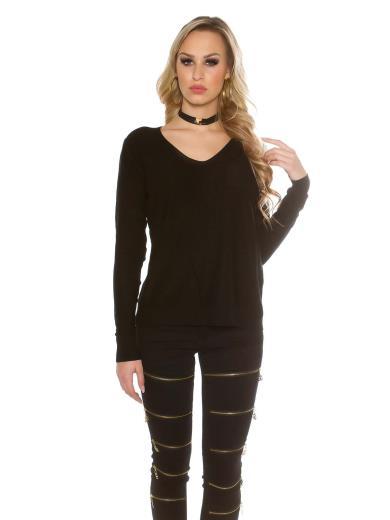 KOUCLA Trendy pullover maniche lunghe con cordoncino A01037