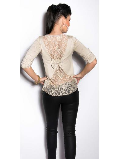 KOUCLA T-shirt schiena in pizzo A01163