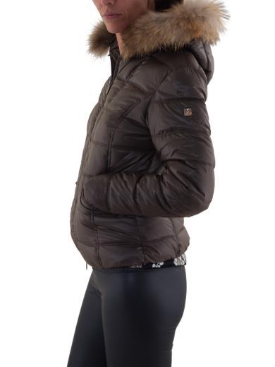 KOOLJAY Piumino corto cappuccio removibile con pelo MF1