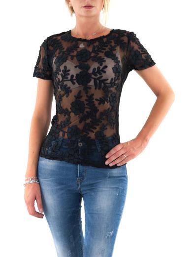 T-shirt ricamo floreale trasparente M1343