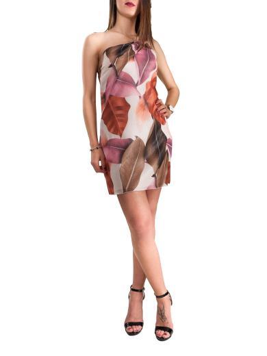 CARMEN UNICA Vestito corto monospalla stampa floreale V2864T404F179