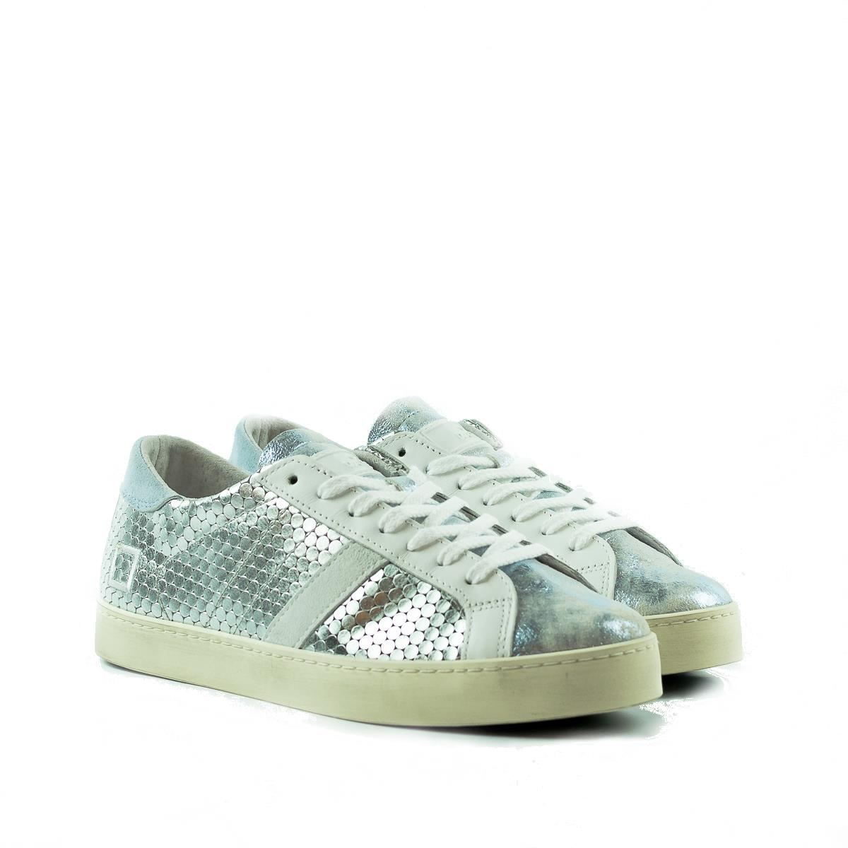 cfa07fb9f3 DATE SNEAKERS HILL LOW PONG LAMINATED SILVER-SKY DONNA | Il Sellaro ...