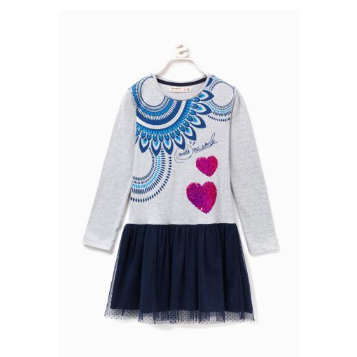 DESIGUAL Vestito Bambina Grigio E Blu Desigual, Con Maniche Lunghe E Scollo Girocollo