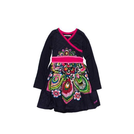 DESIGUAL Vestito Blu/Fucsia Manica lunga da Bambina Desigual