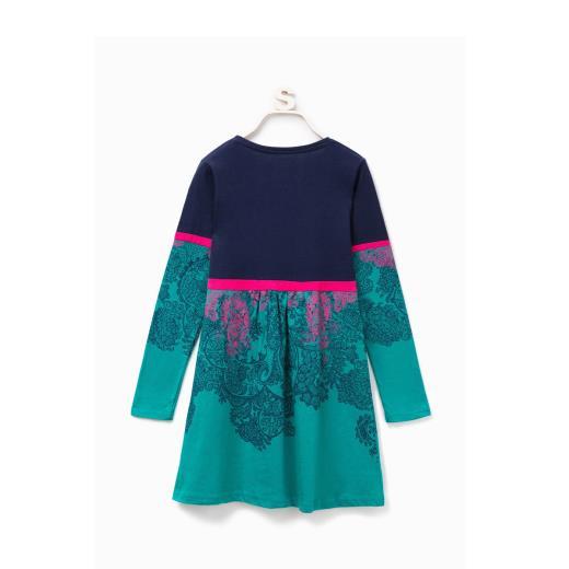 DESIGUAL Vestito Blu/Verde Manica Lunga Da Bambina Desigual