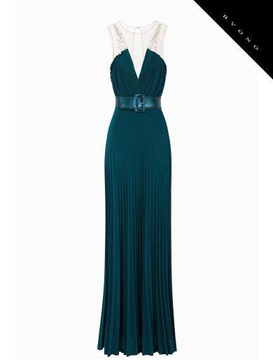 e4ca06080ff1 Elisabetta Franchi AB79292E2 Pleated Dress With Belt
