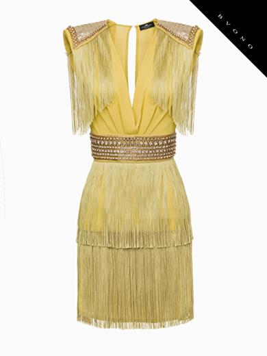 c5ec2a578b31 Elisabetta Franchi AB82193E2 Short Dress With Fringes