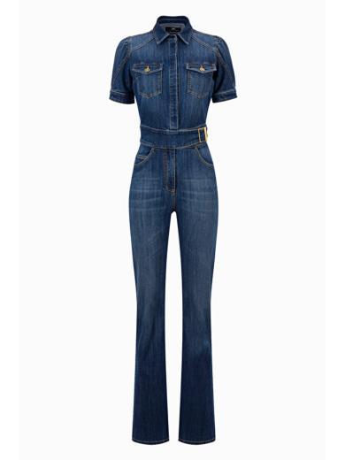 cheap for discount f1b09 7dea6 Elisabetta Franchi TJ07S96E2 Denim Jumpsuit With Belt