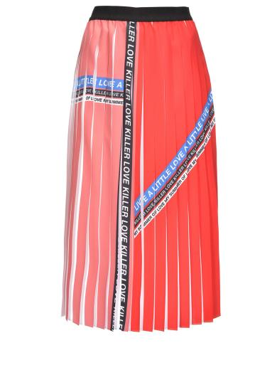 db8562c7f6 PINKO PLEATED CREPE DE CHINE AND LETTERING PRINT SKIRT 1G13YVY57M