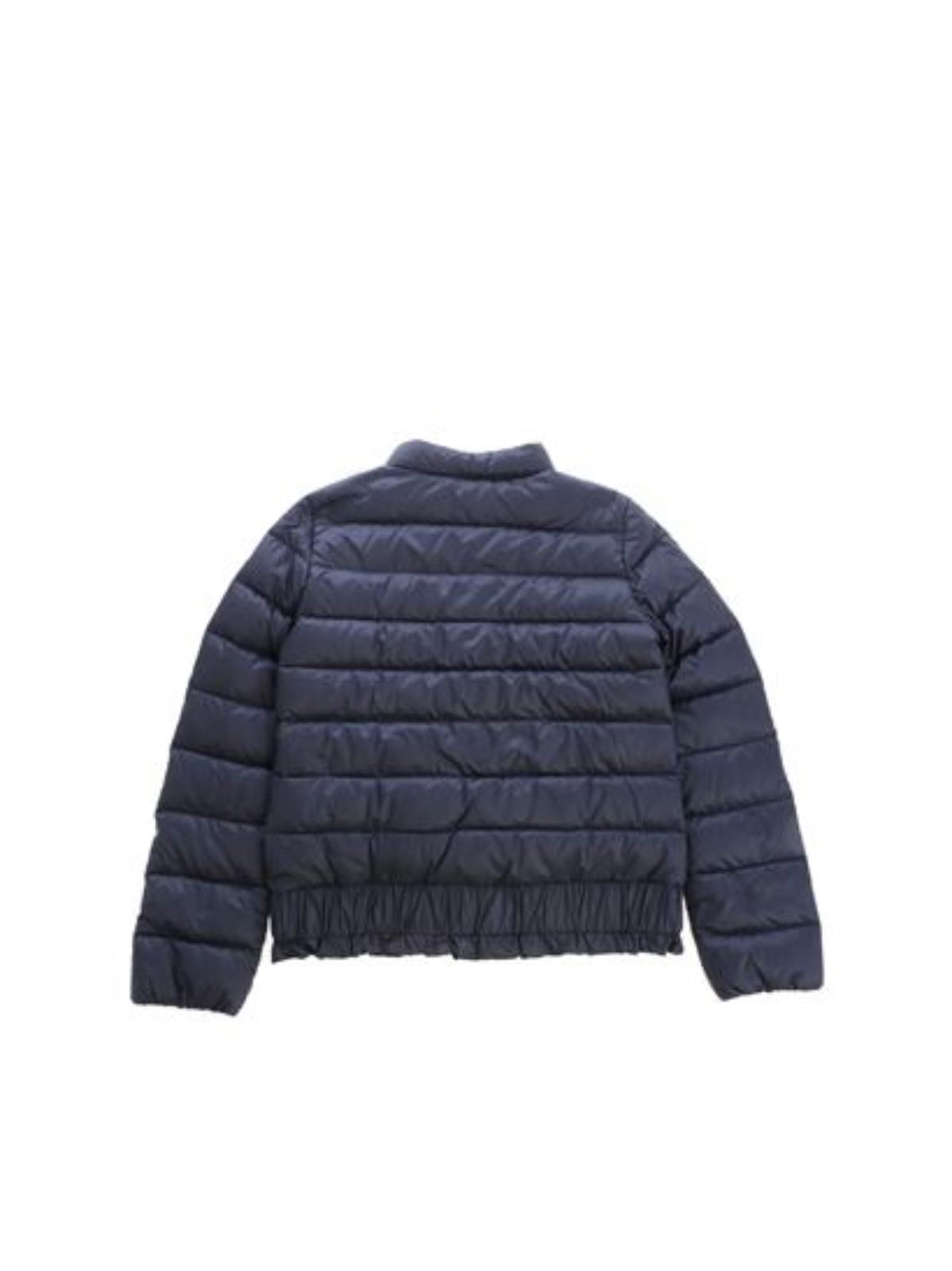6596c3f32811 Piumino Moncler kid modello Long Season Abricot blu con rouches in vita.